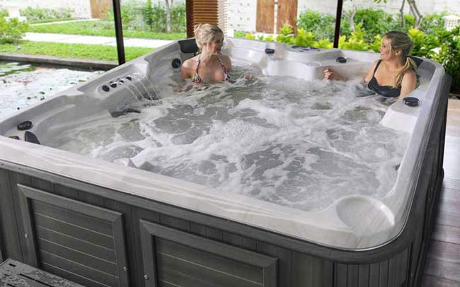 Women enjoying a hot tub