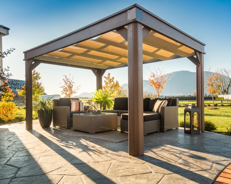 The front view of an open air Arctic Spas Gazebo Lugano