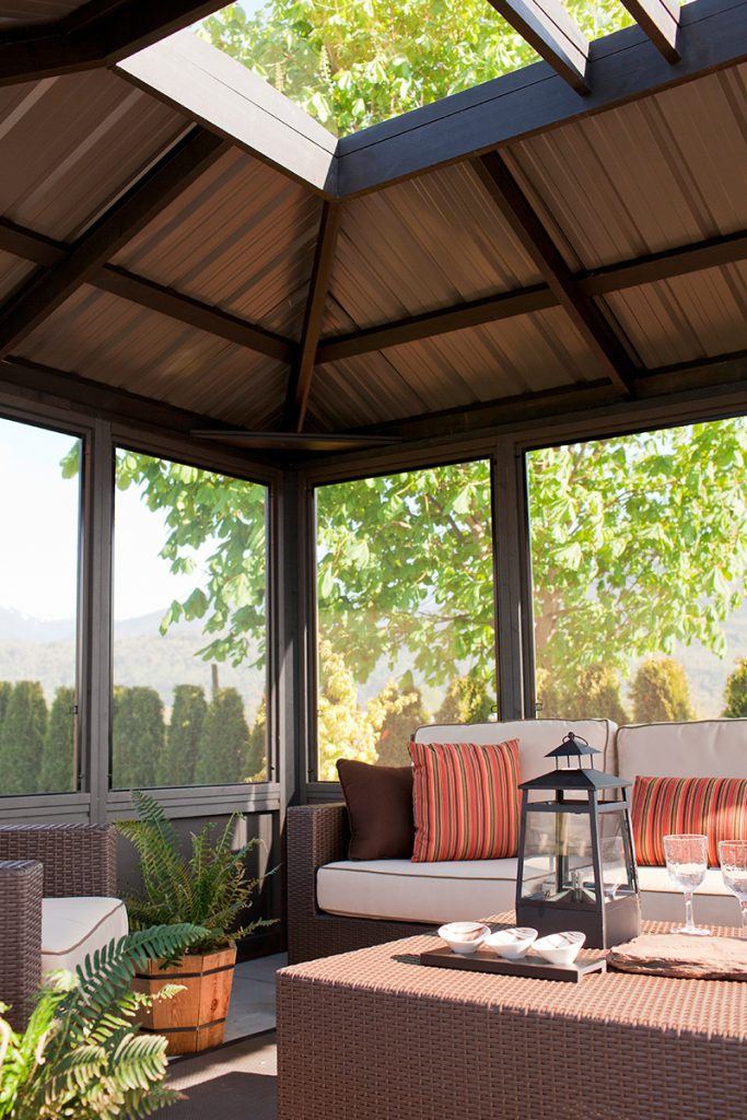 The roof view from inside of a Fully Enclosed Arctic Spa Okanagan Gazebo