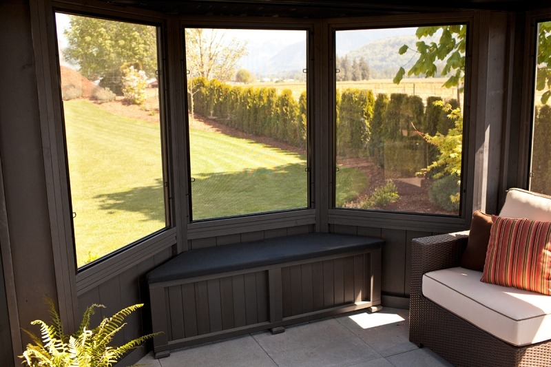 The inside view of a Fully Enclosed Arctic Spa Jasper Gazebo