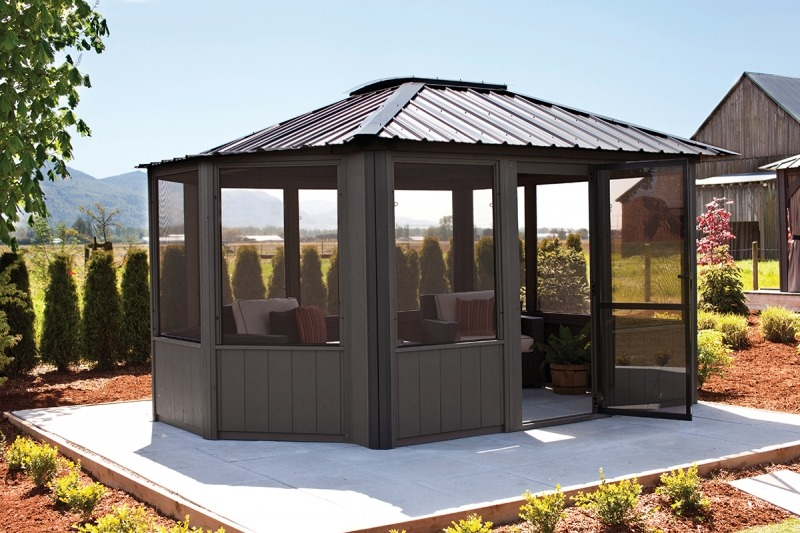 The side view of a Fully Enclosed Arctic Spa Jasper Gazebo
