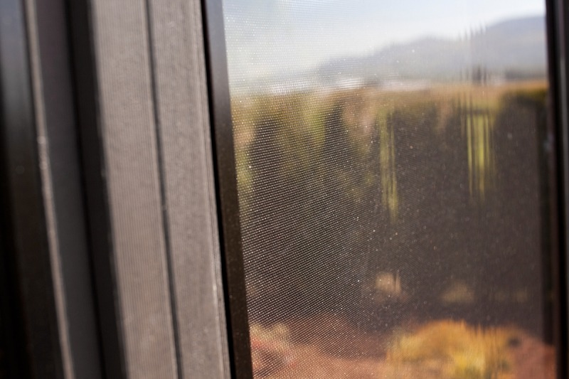 The insect screen in window