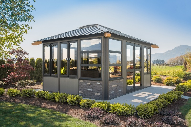 The corner view of a Fully Enclosed Arctic Spas Whistler Gazebo