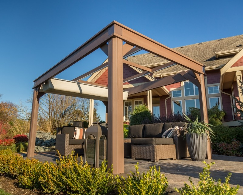 The side view of an open air Arctic Spas Gazebo Lugano