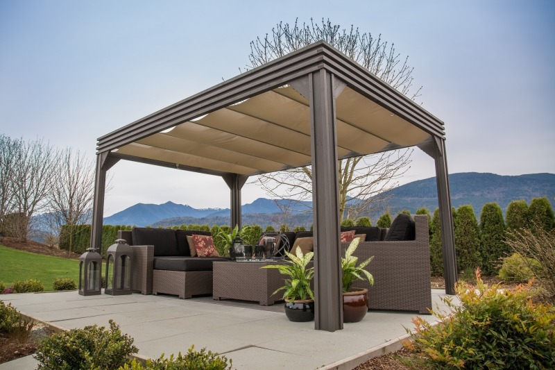 The side view of an open air Arctic Spas Gazebo Valencia