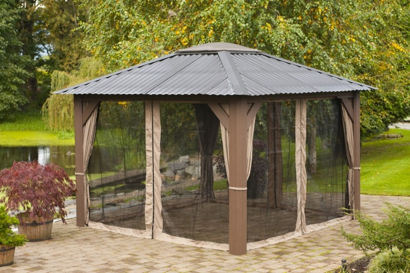The side view of an closed air Arctic Spas Gazebo Victoria