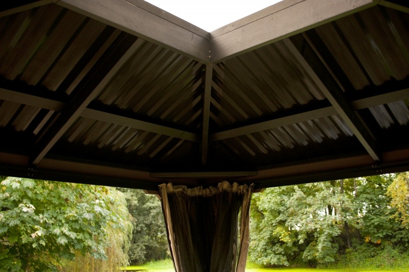 The roof inside corner view of an open air Gazebo Victoria