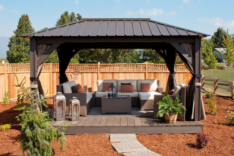 The front view of an open air Arctic Spas Gazebo Verona