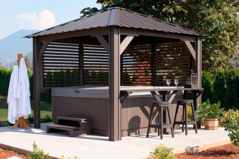 The side view of a Semi Enclosed Arctic Spas Gazebo Sienna