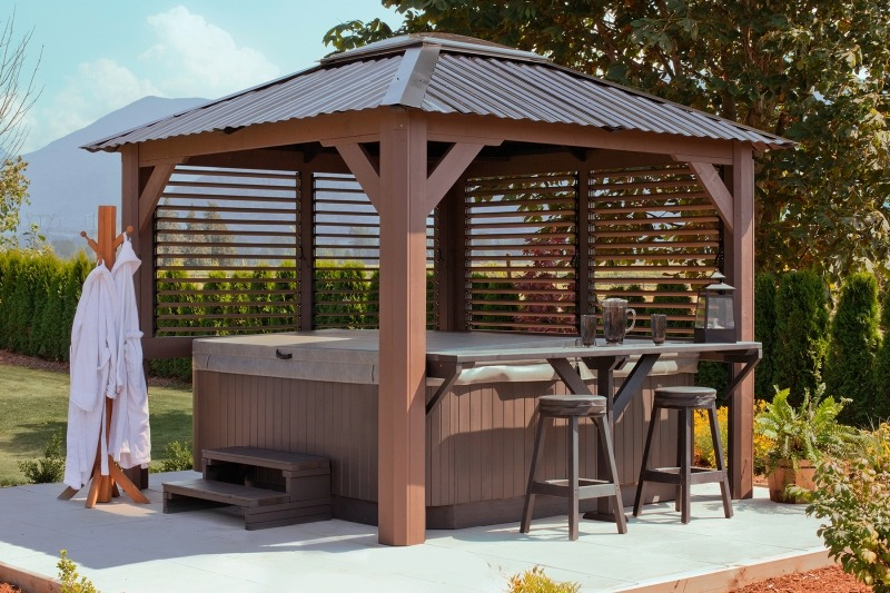 The side view of a Semi Enclosed Arctic Spas Gazebo Mt. Alta