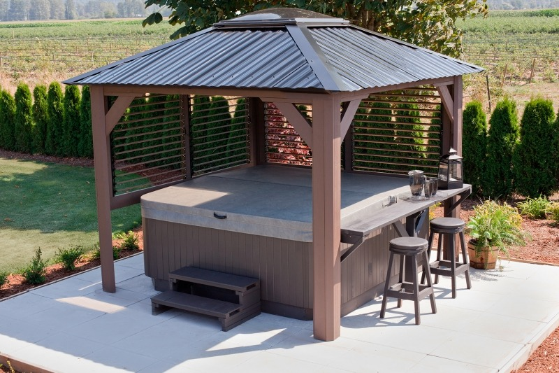 The top side view of a Semi Enclosed Arctic Spas Gazebo Mt. Alta