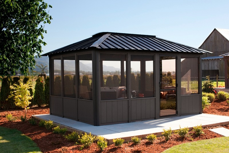 The side view of a Fully Enclosed Arctic Spa Okanagan Gazebo