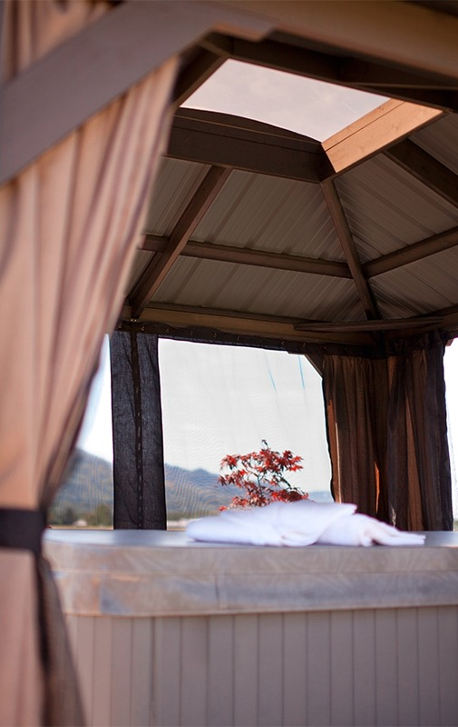 The roof view of an open air Arctic Spas Gazebo Milano from inside