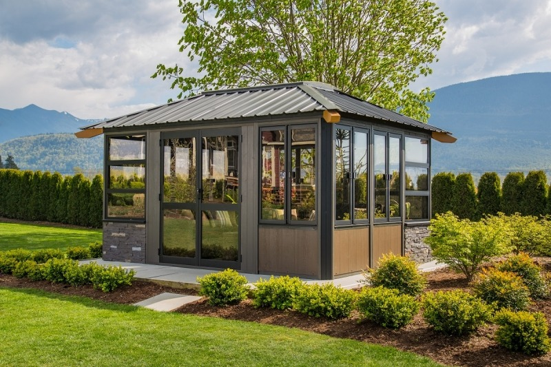 The side view of a Fully Enclosed Arctic Spas Whistler Gazebo
