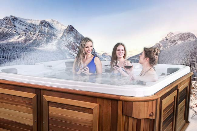 Women relaxing in a hot tub