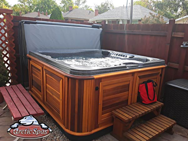 Arctic Spas Cub in red Cedar cabinet for the Ricci-Whaley family