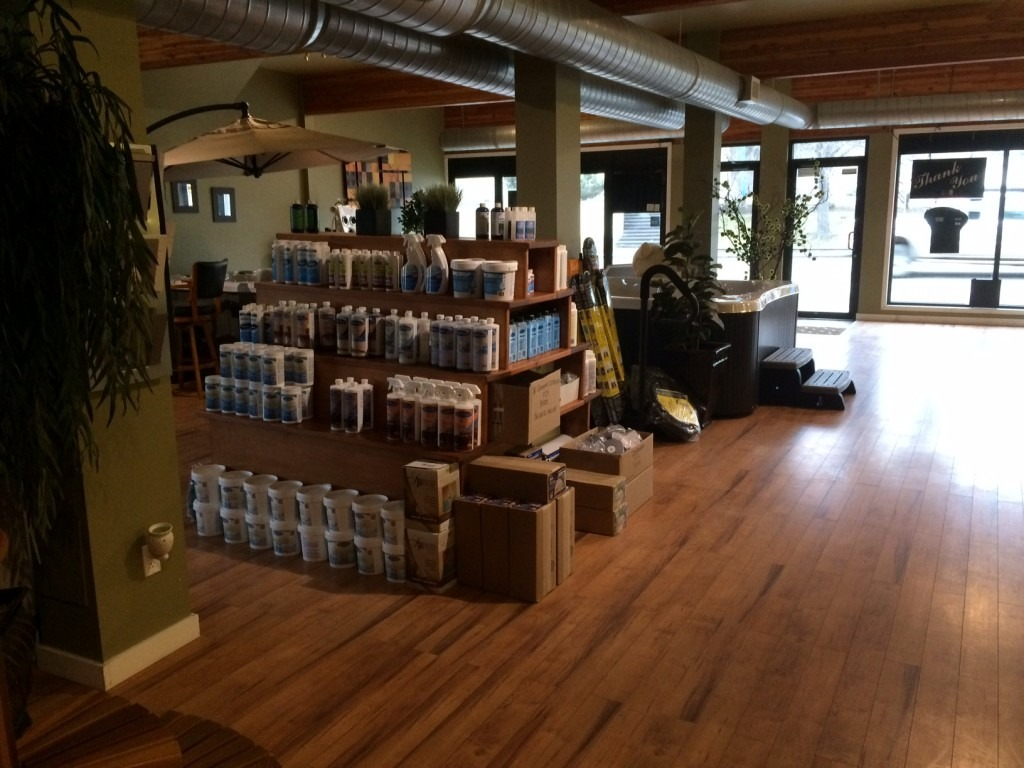Chemicals and supplies in the Kamloops showroom
