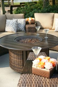 The Arlington 42 inch Round Fire table - wicker base