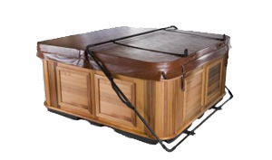 Covered hot tub with a cover lifter