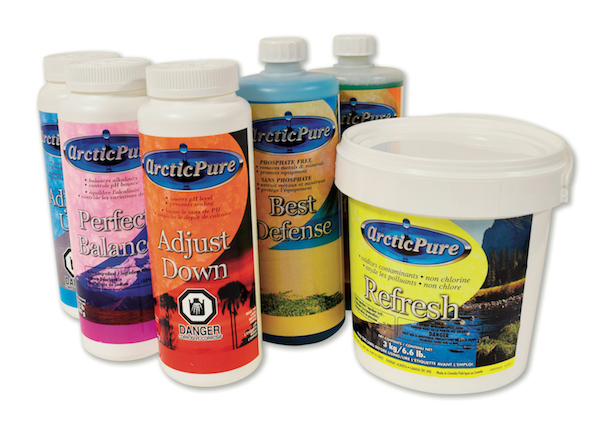 Bottles with a Arctic Pure water care chemicals