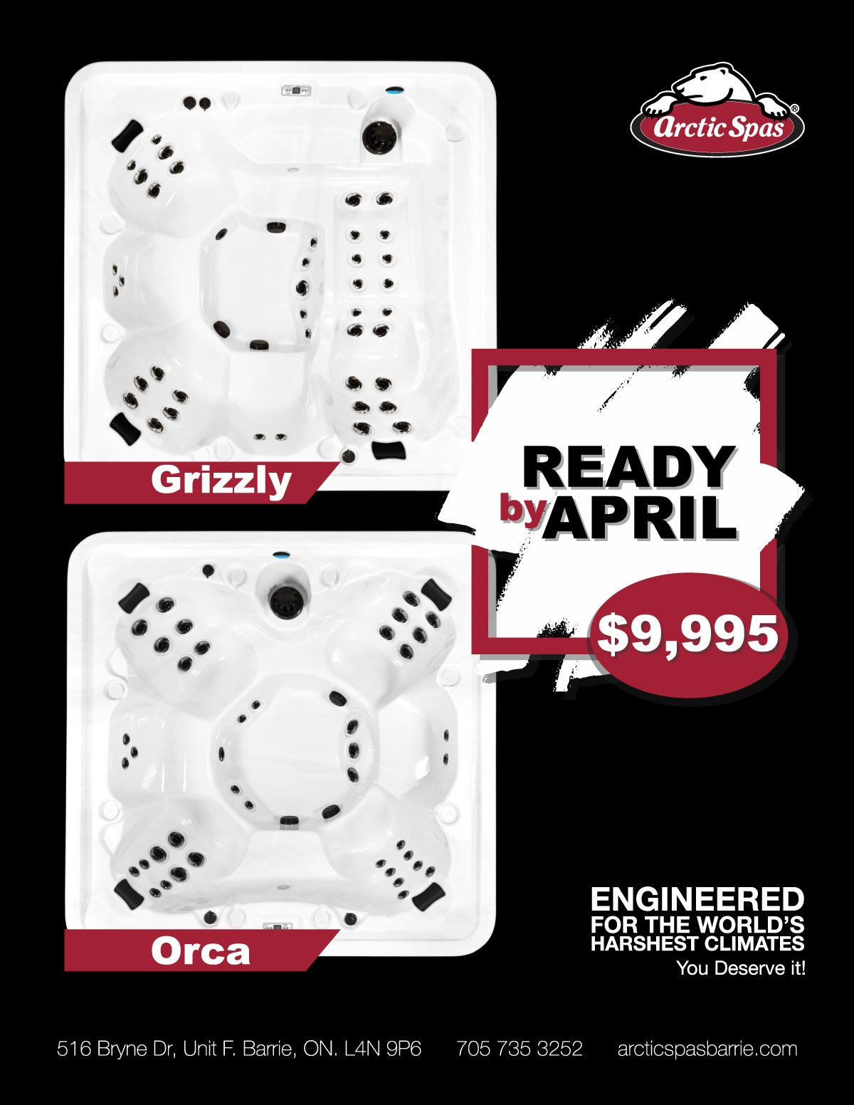 Arctic Spas Barrie promo - ready by april