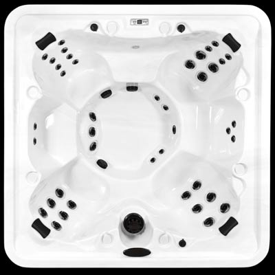 Arctic Spas Orca model, top view of the Core Series jet configuration