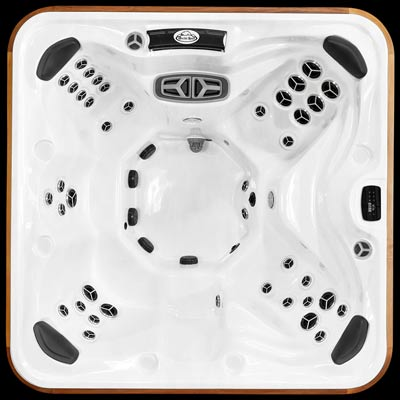Arctic Spas Yukon model, top view of the Legend jet configuration