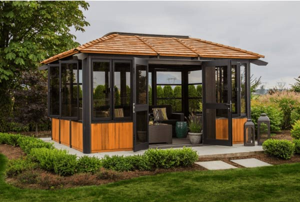 The side view of a Semi Enclosed Arctic Spas Gazebo Tamihi