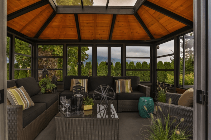 The front inside view of a Semi Enclosed Arctic Spas Gazebo Tamihi