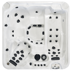 Top view of a family size hot tub