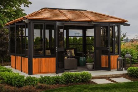The side view of a Fully Enclosed Arctic Spas Tuscany Gazebo