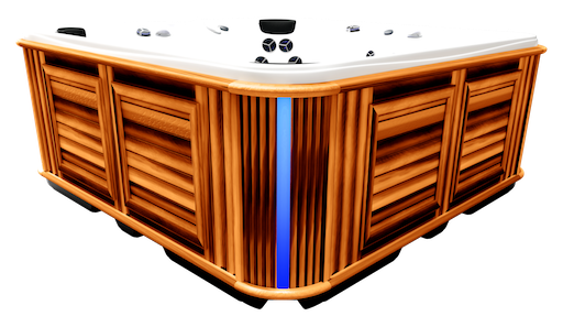 Side view of a hot tub with Corner Accent Lighting turned on