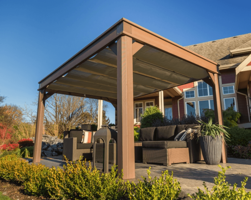 The side view of an Arctic Spas Gazebo with Sliding sun shade, model C 10x14