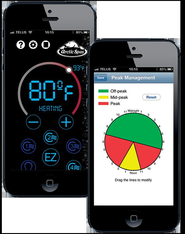 Displays of the Arctic Spas app