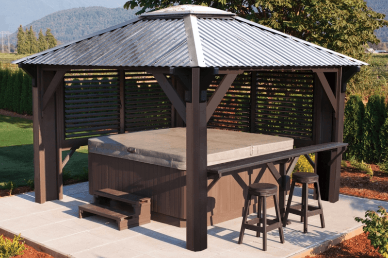 The side view of a Semi Enclosed Arctic Spas Gazebo, model W 11x11