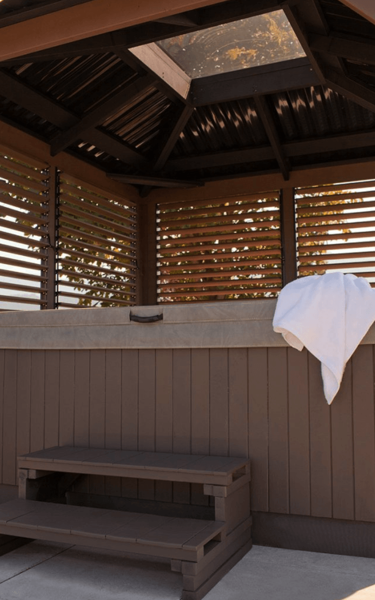 The roof view of a Semi Enclosed Arctic Spas Gazebo from inside